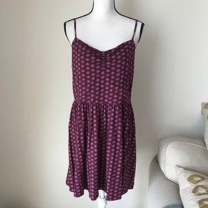 LOFT Purple Printed Midi Dress